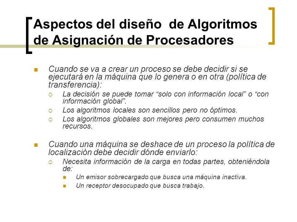 Aspectos del diseño de Algoritmos de Asignación de Procesadores Cuando se va a crear un proceso se debe decidir si se ejecutará en la máquina que lo g