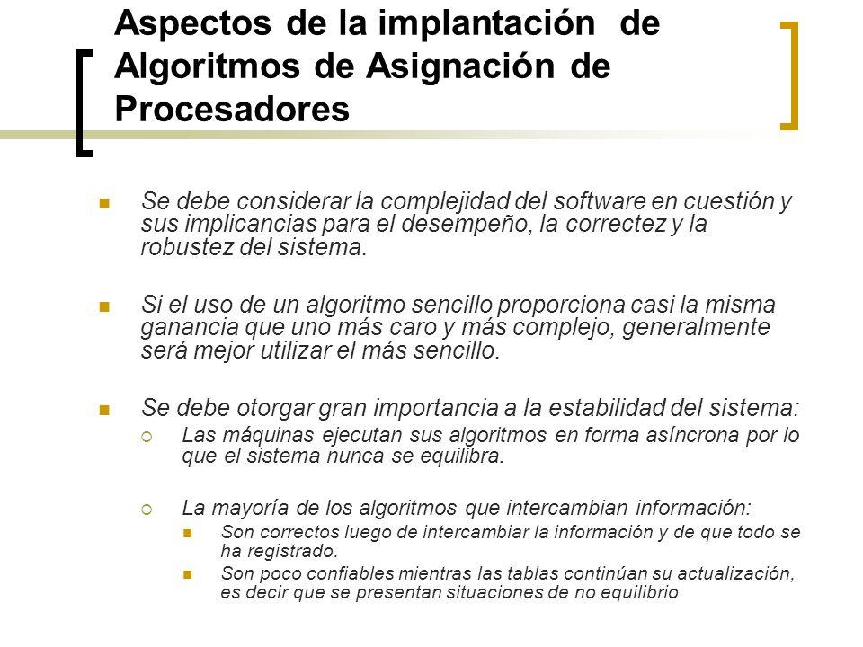 Aspectos de la implantación de Algoritmos de Asignación de Procesadores Se debe considerar la complejidad del software en cuestión y sus implicancias