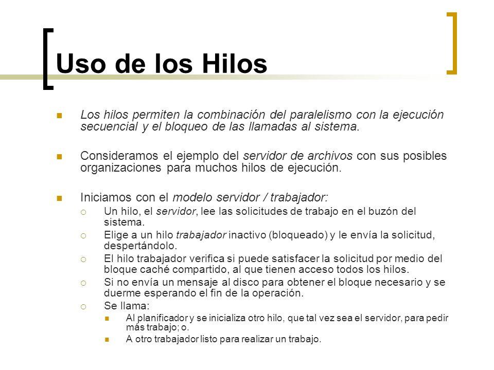 Uso de los Hilos Los hilos permiten la combinación del paralelismo con la ejecución secuencial y el bloqueo de las llamadas al sistema. Consideramos e