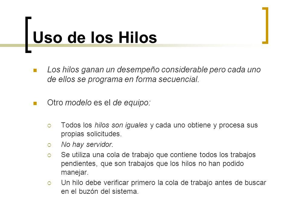 Uso de los Hilos Un tercer modelo es el de entubamiento: El primer hilo genera ciertos datos y los transfiere al siguiente para su procesamiento.