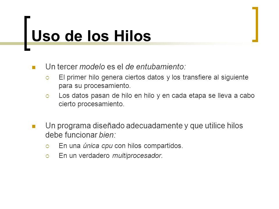 Uso de los Hilos Un tercer modelo es el de entubamiento: El primer hilo genera ciertos datos y los transfiere al siguiente para su procesamiento. Los