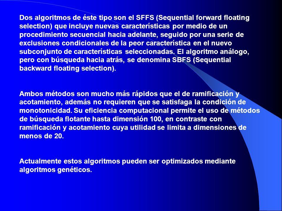 Dos algoritmos de éste tipo son el SFFS (Sequential forward floating selection) que incluye nuevas características por medio de un procedimiento secuencial hacia adelante, seguido por una serie de exclusiones condicionales de la peor característica en el nuevo subconjunto de características seleccionadas.
