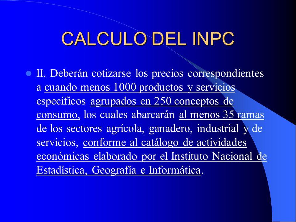 CALCULO DEL INPC II.