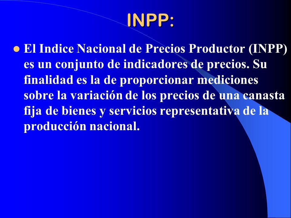 INPP: El Indice Nacional de Precios Productor (INPP) es un conjunto de indicadores de precios.