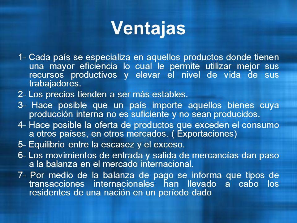 Ventajas 1- Cada país se especializa en aquellos productos donde tienen una mayor eficiencia lo cual le permite utilizar mejor sus recursos productivos y elevar el nivel de vida de sus trabajadores.