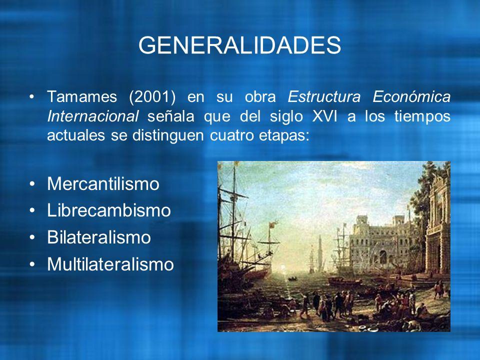 GENERALIDADES Tamames (2001) en su obra Estructura Económica Internacional señala que del siglo XVI a los tiempos actuales se distinguen cuatro etapas: Mercantilismo Librecambismo Bilateralismo Multilateralismo
