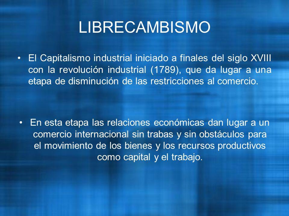 El Capitalismo industrial iniciado a finales del siglo XVIII con la revolución industrial (1789), que da lugar a una etapa de disminución de las restricciones al comercio.