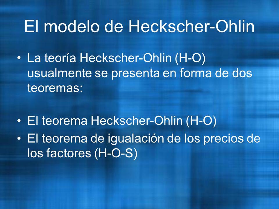 El modelo de Heckscher-Ohlin La teoría Heckscher-Ohlin (H-O) usualmente se presenta en forma de dos teoremas: El teorema Heckscher-Ohlin (H-O) El teorema de igualación de los precios de los factores (H-O-S)