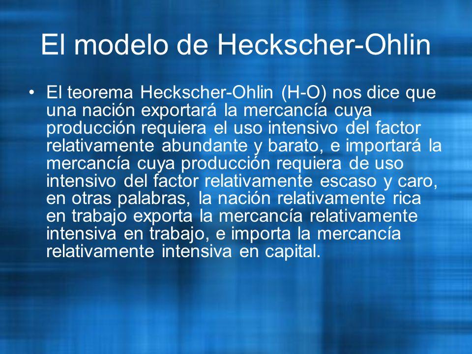 El modelo de Heckscher-Ohlin El teorema Heckscher-Ohlin (H-O) nos dice que una nación exportará la mercancía cuya producción requiera el uso intensivo del factor relativamente abundante y barato, e importará la mercancía cuya producción requiera de uso intensivo del factor relativamente escaso y caro, en otras palabras, la nación relativamente rica en trabajo exporta la mercancía relativamente intensiva en trabajo, e importa la mercancía relativamente intensiva en capital.