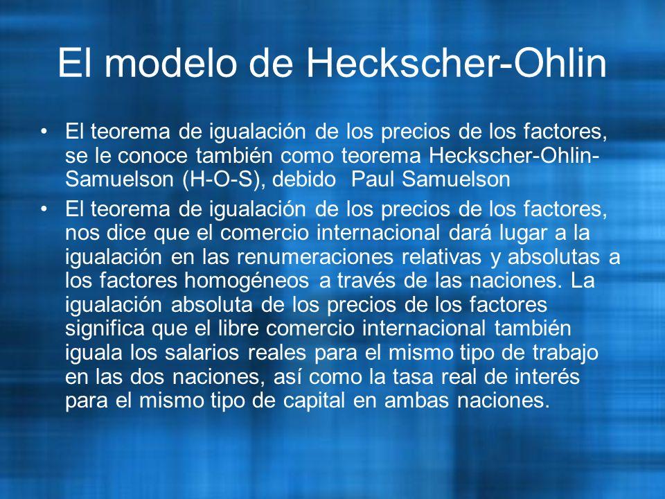 El modelo de Heckscher-Ohlin El teorema de igualación de los precios de los factores, se le conoce también como teorema Heckscher-Ohlin- Samuelson (H-O-S), debido Paul Samuelson El teorema de igualación de los precios de los factores, nos dice que el comercio internacional dará lugar a la igualación en las renumeraciones relativas y absolutas a los factores homogéneos a través de las naciones.