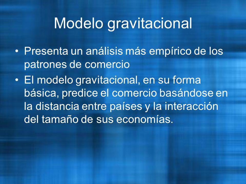 Modelo gravitacional Presenta un análisis más empírico de los patrones de comercio El modelo gravitacional, en su forma básica, predice el comercio basándose en la distancia entre países y la interacción del tamaño de sus economías.
