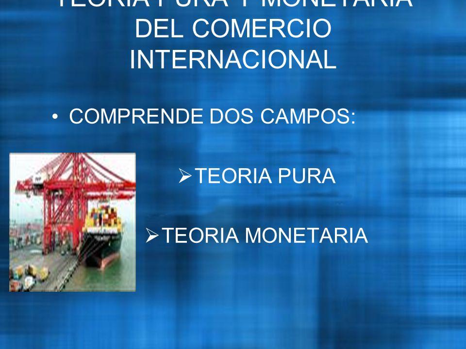 COMPRENDE DOS CAMPOS: TEORIA PURA TEORIA MONETARIA