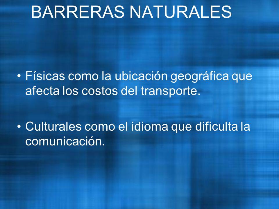 BARRERAS NATURALES Físicas como la ubicación geográfica que afecta los costos del transporte.