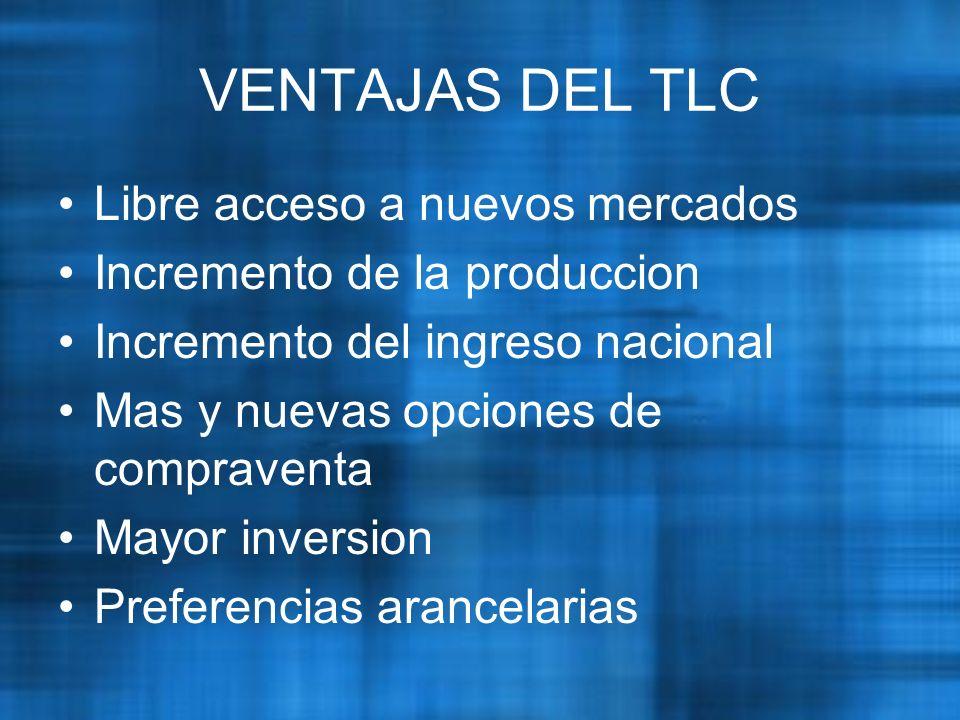 VENTAJAS DEL TLC Libre acceso a nuevos mercados Incremento de la produccion Incremento del ingreso nacional Mas y nuevas opciones de compraventa Mayor inversion Preferencias arancelarias