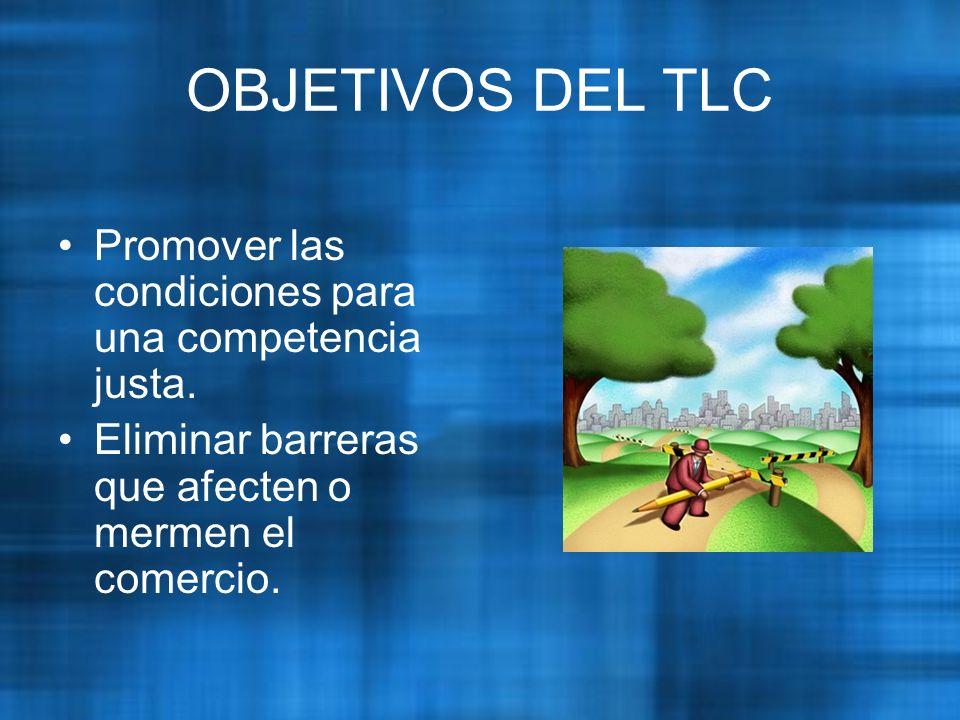 OBJETIVOS DEL TLC Promover las condiciones para una competencia justa.