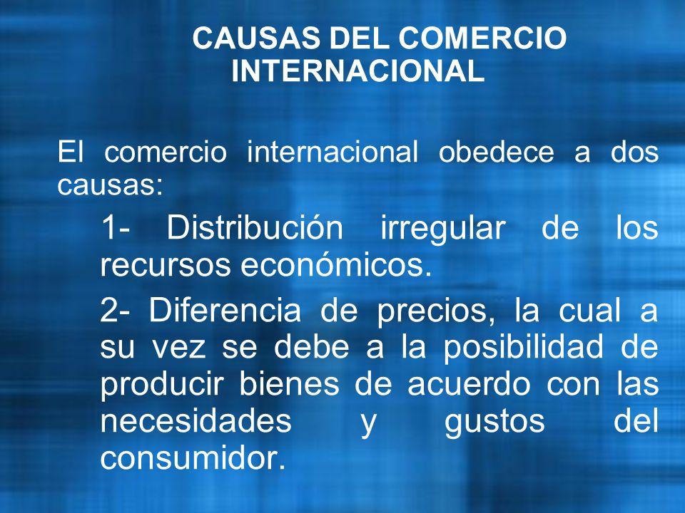 CAUSAS DEL COMERCIO INTERNACIONAL El comercio internacional obedece a dos causas: 1- Distribución irregular de los recursos económicos.