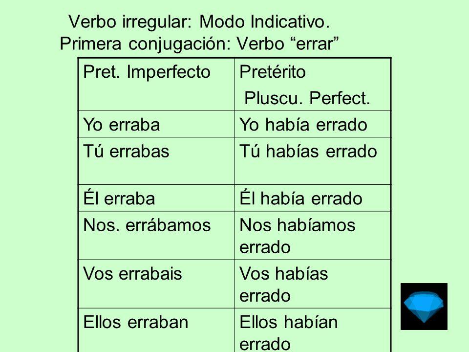 Verbo irregular: Modo Indicativo.Primera conjugación: Verbo errar Pret.