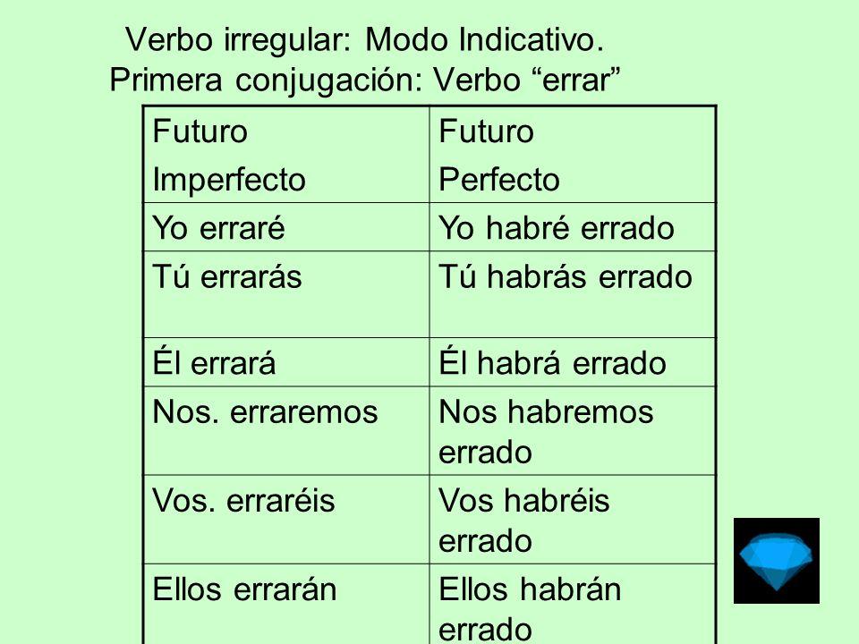 Verbo irregular: Modo Subjuntivo Primera conjugación: Verbo errar PresentePretérito Perfecto.