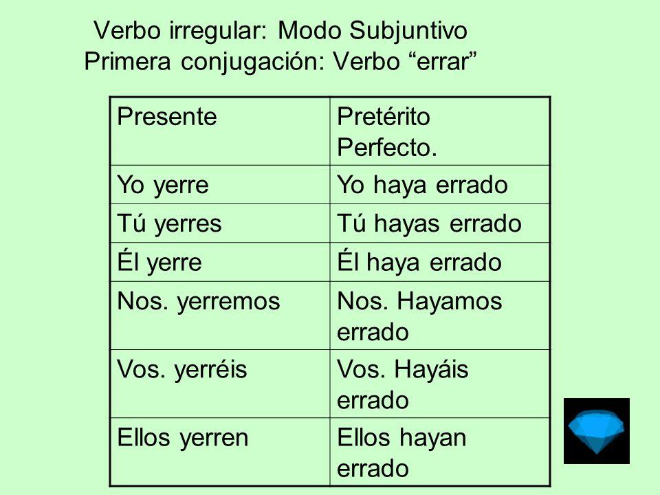 Verbo irregular: Modo Subjuntivo Primera conjugación: Verbo errar Pret.