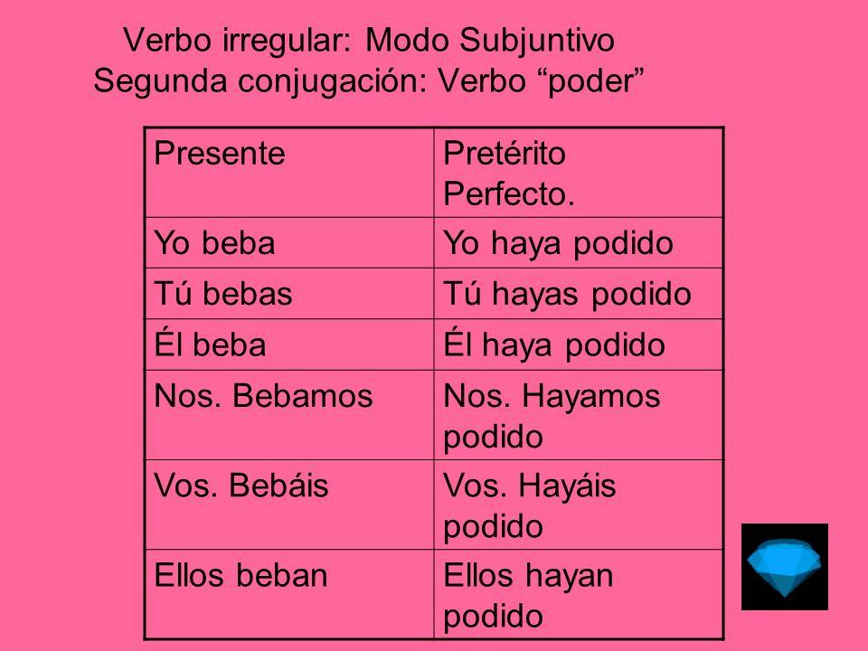 Verbo irregular: Modo Subjuntivo Segunda conjugación: Verbo poder Pret.