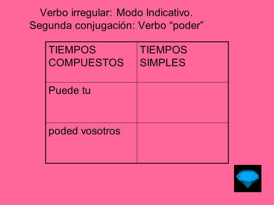 Verbo irregular: Modo Indicativo.Tercera conjugación: Verbo decir PresentePretérito Perfecto.
