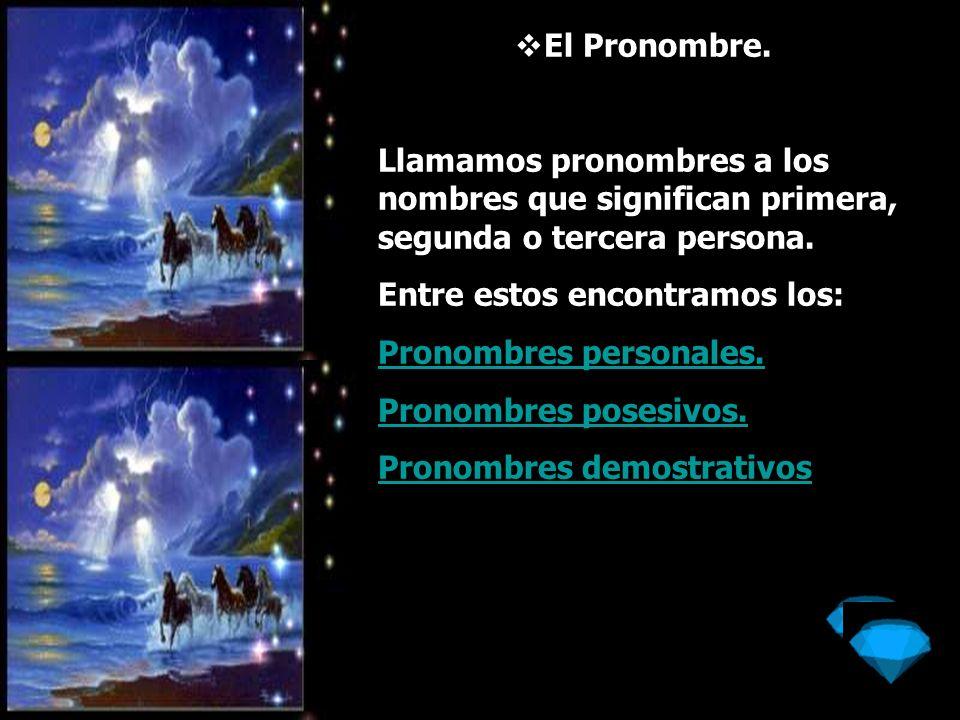 El Pronombre personal: Que significan la idea de persona por sí sola; tales son: Yo Primera persona de singular Fem.