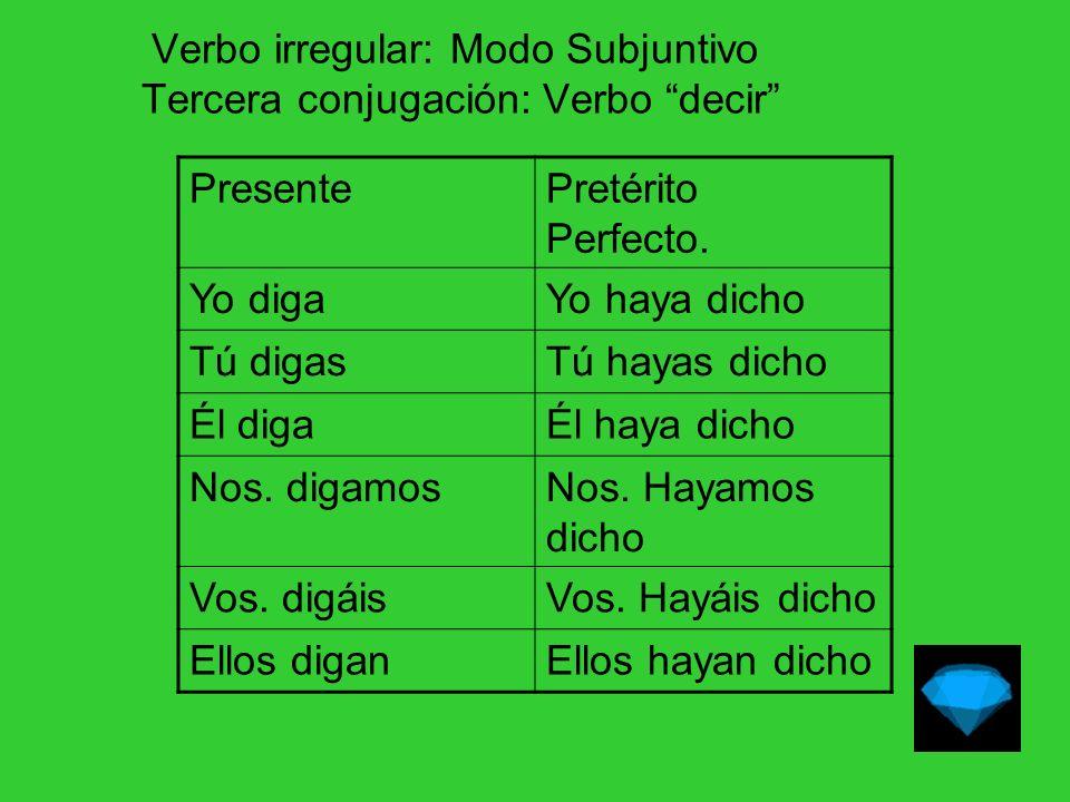 Verbo irregular: Modo Subjuntivo.Tercera conjugación: Verbo decir Pret.