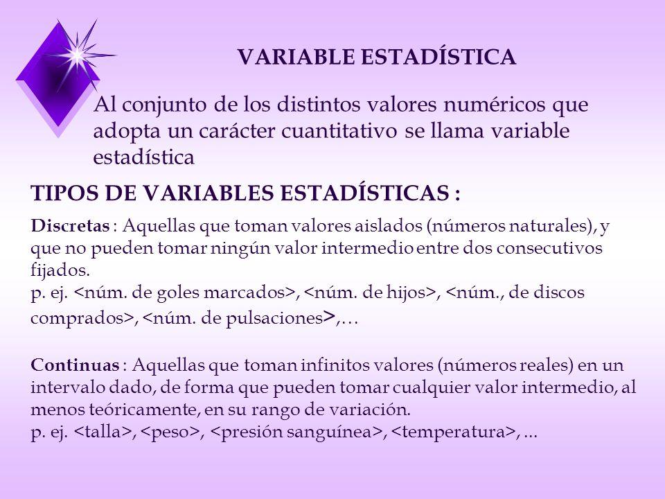 VARIABLE ESTADÍSTICA Al conjunto de los distintos valores numéricos que adopta un carácter cuantitativo se llama variable estadística TIPOS DE VARIABLES ESTADÍSTICAS : Discretas : Aquellas que toman valores aislados (números naturales), y que no pueden tomar ningún valor intermedio entre dos consecutivos fijados.