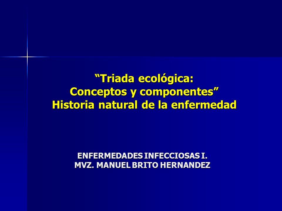 ENFERMEDADES INFECCIOSAS I. MVZ. MANUEL BRITO HERNANDEZ Triada ecológica: Conceptos y componentes Historia natural de la enfermedad