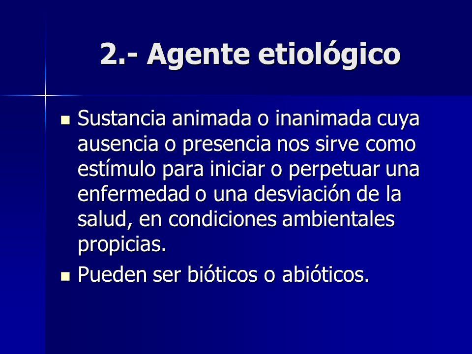 2.- Agente etiológico Sustancia animada o inanimada cuya ausencia o presencia nos sirve como estímulo para iniciar o perpetuar una enfermedad o una de