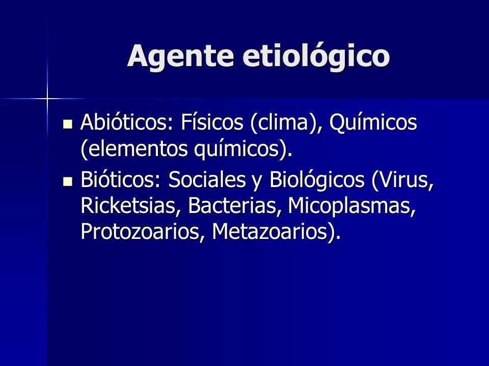 Agente etiológico Abióticos: Físicos (clima), Químicos (elementos químicos). Abióticos: Físicos (clima), Químicos (elementos químicos). Bióticos: Soci