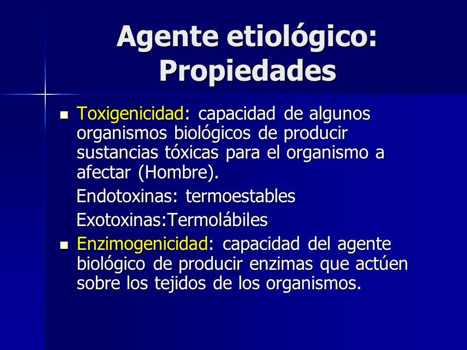 Agente etiológico: Propiedades Toxigenicidad: capacidad de algunos organismos biológicos de producir sustancias tóxicas para el organismo a afectar (H