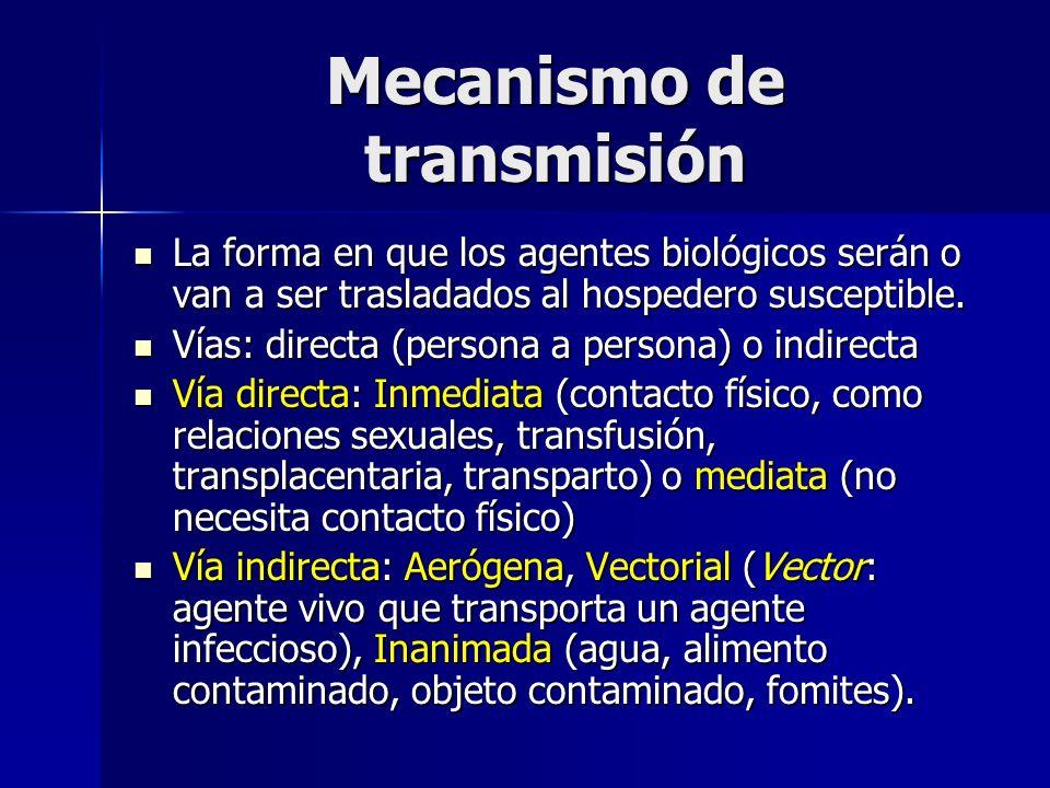 Mecanismo de transmisión La forma en que los agentes biológicos serán o van a ser trasladados al hospedero susceptible. La forma en que los agentes bi