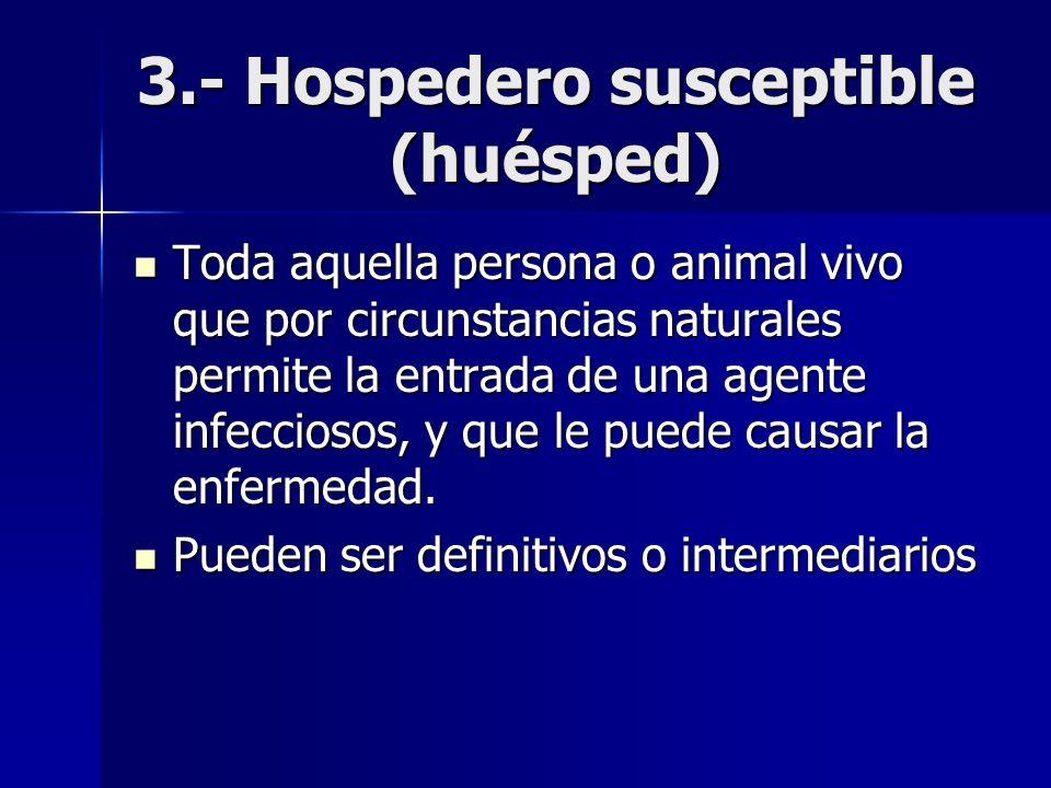 3.- Hospedero susceptible (huésped) Toda aquella persona o animal vivo que por circunstancias naturales permite la entrada de una agente infecciosos,