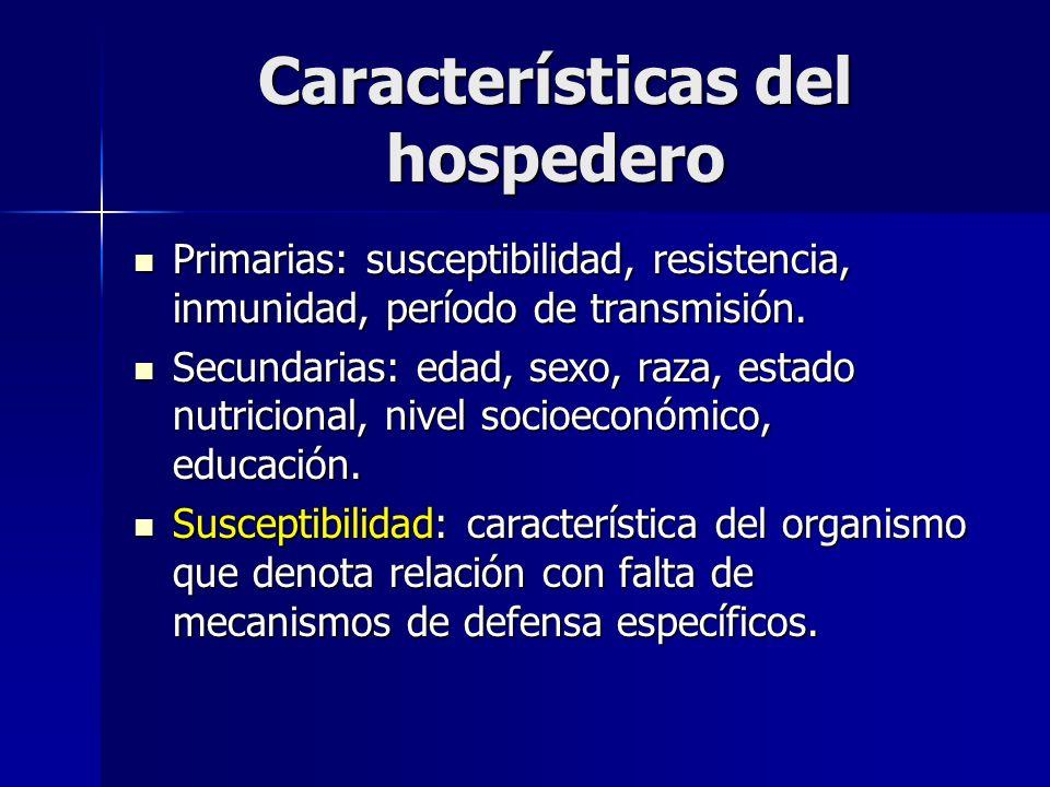 Características del hospedero Primarias: susceptibilidad, resistencia, inmunidad, período de transmisión. Primarias: susceptibilidad, resistencia, inm