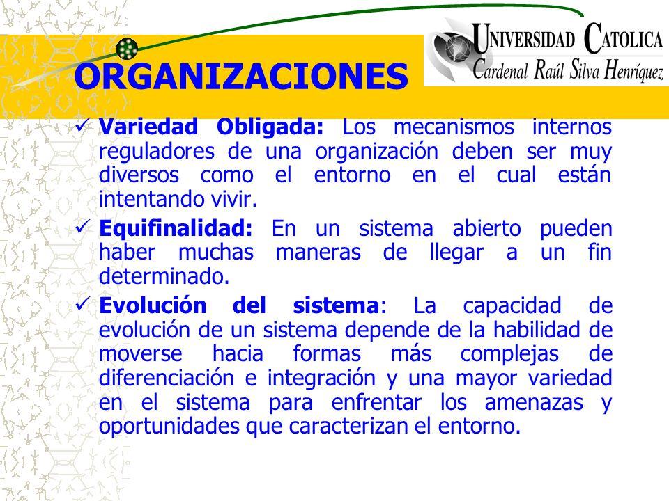 ORGANIZACIONES Variedad Obligada: Los mecanismos internos reguladores de una organización deben ser muy diversos como el entorno en el cual están inte