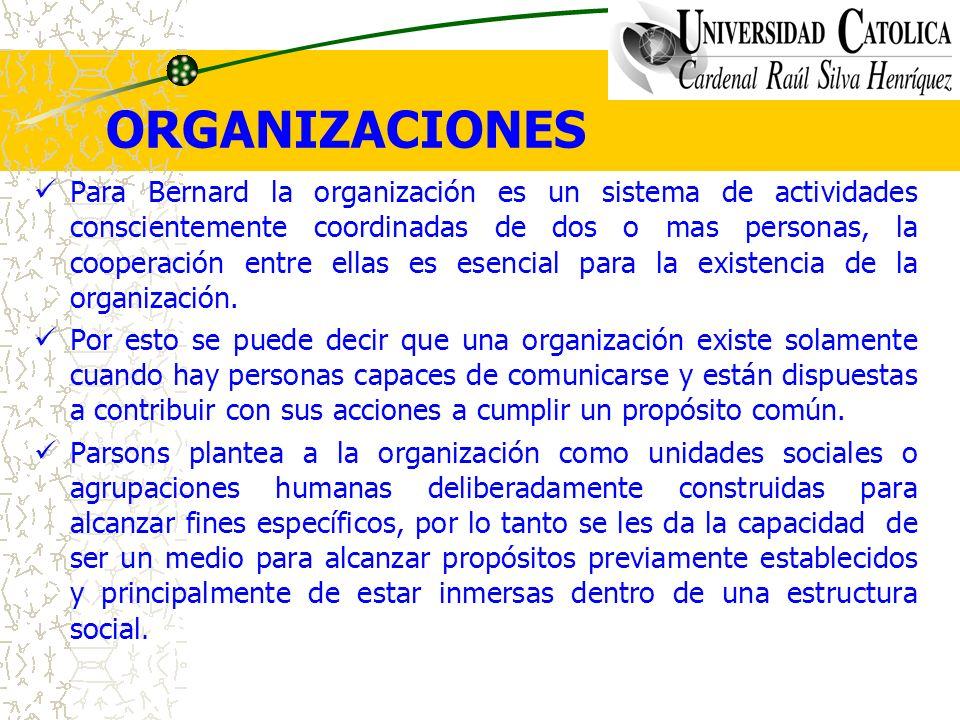 ORGANIZACIONES Para Bernard la organización es un sistema de actividades conscientemente coordinadas de dos o mas personas, la cooperación entre ellas