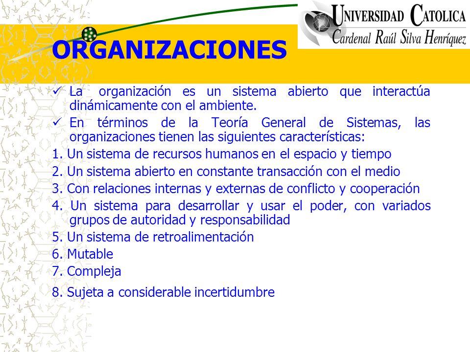 ORGANIZACIONES La organización es un sistema abierto que interactúa dinámicamente con el ambiente. En términos de la Teoría General de Sistemas, las o