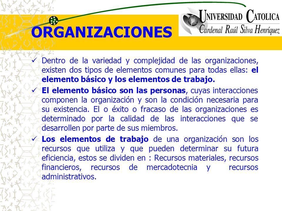 ORGANIZACIONES Dentro de la variedad y complejidad de las organizaciones, existen dos tipos de elementos comunes para todas ellas: el elemento básico