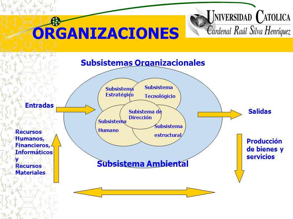 ORGANIZACIONES Subsistemas Organizacionales Subsistema Ambiental Subistema de Dirección Subsistema Estratégico Subsistema Tecnológicio Subsistema Huma