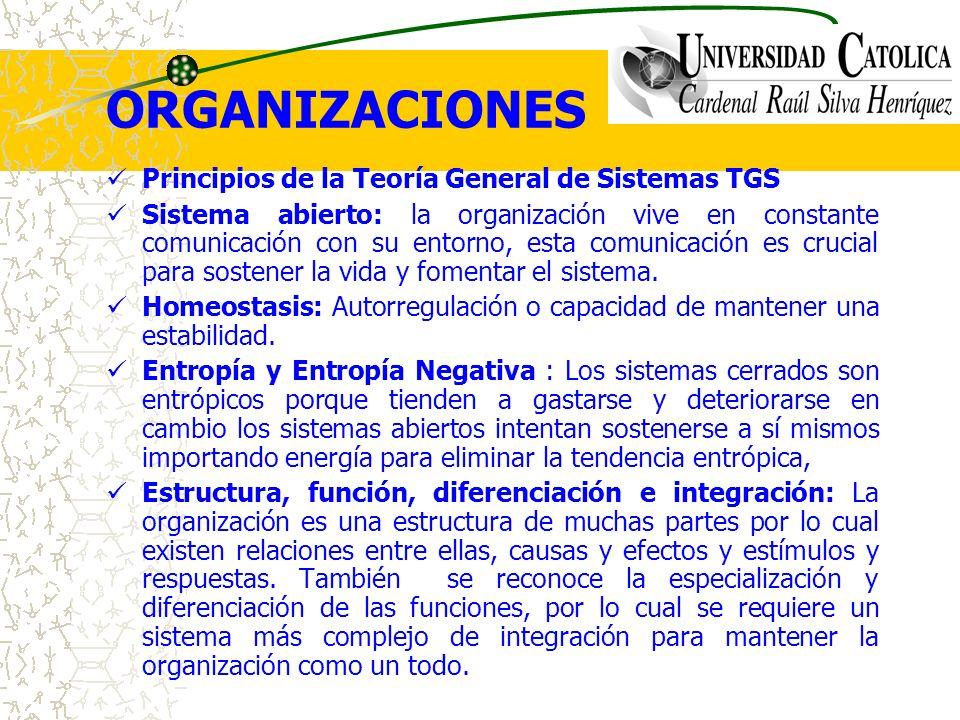 ORGANIZACIONES Principios de la Teoría General de Sistemas TGS Sistema abierto: la organización vive en constante comunicación con su entorno, esta co