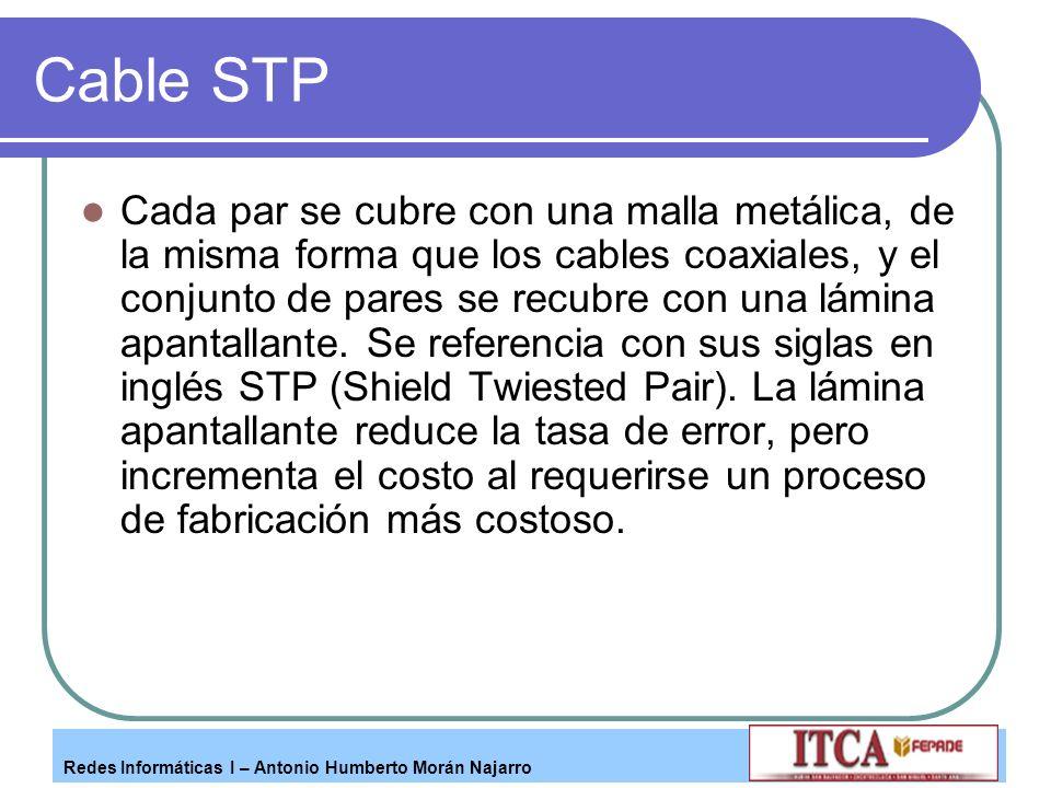 Redes Informáticas I – Antonio Humberto Morán Najarro Cable STP Cada par se cubre con una malla metálica, de la misma forma que los cables coaxiales,