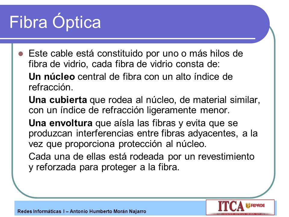 Redes Informáticas I – Antonio Humberto Morán Najarro Fibra Óptica Este cable está constituido por uno o más hilos de fibra de vidrio, cada fibra de v
