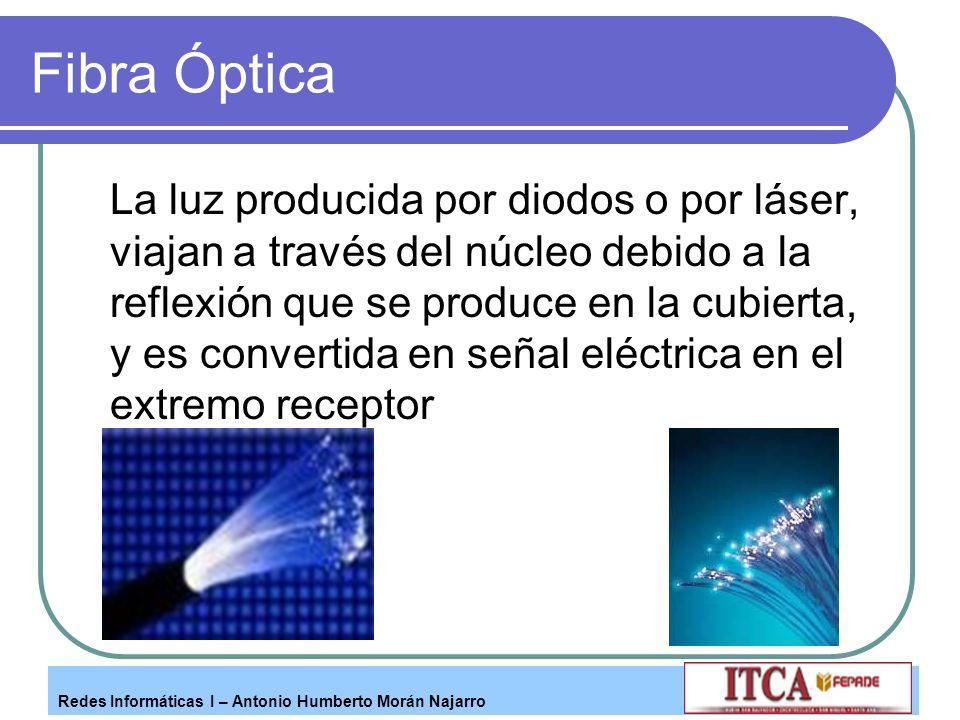 Redes Informáticas I – Antonio Humberto Morán Najarro Fibra Óptica La luz producida por diodos o por láser, viajan a través del núcleo debido a la ref