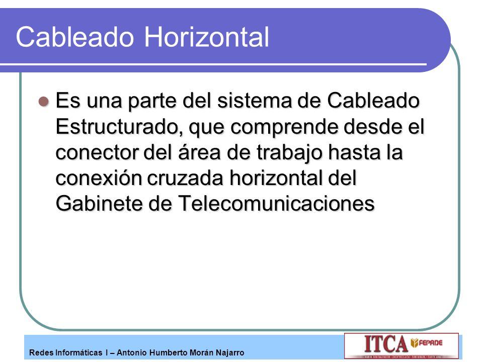 Redes Informáticas I – Antonio Humberto Morán Najarro Cableado Horizontal Es una parte del sistema de Cableado Estructurado, que comprende desde el co