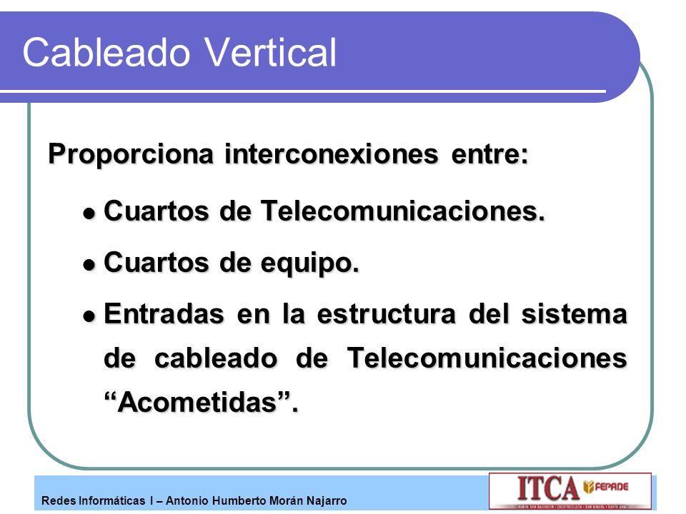 Redes Informáticas I – Antonio Humberto Morán Najarro Cableado Vertical Proporciona interconexiones entre: Cuartos de Telecomunicaciones. Cuartos de T