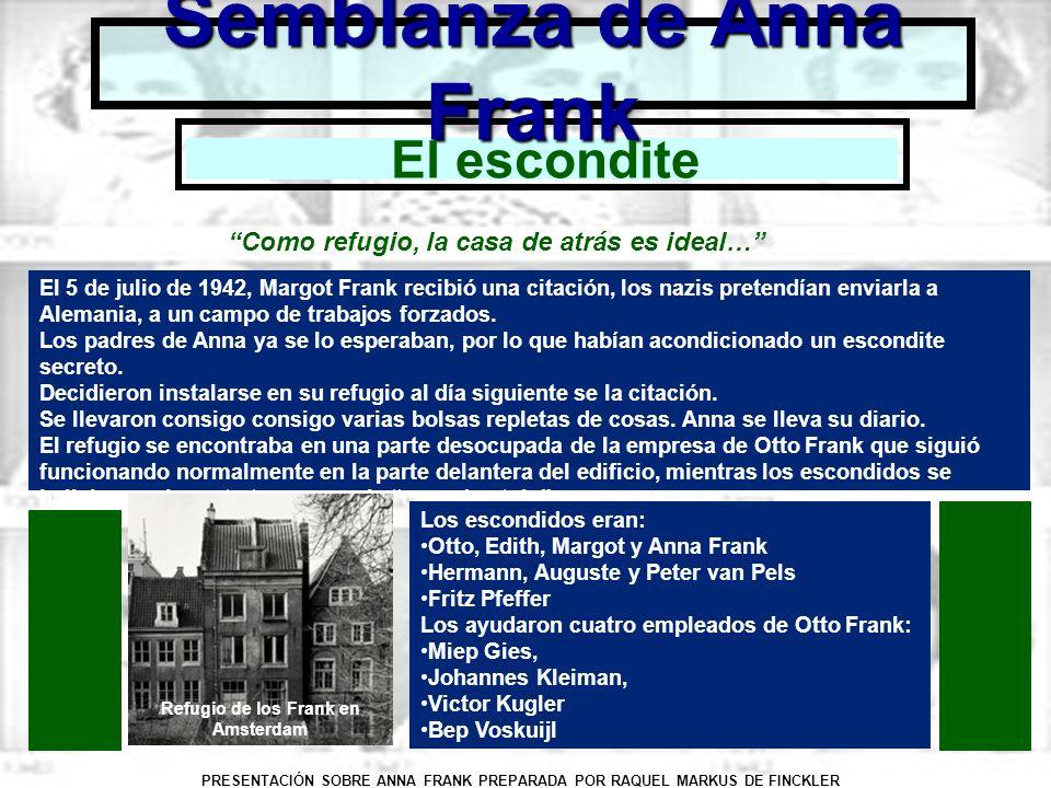 PRESENTACIÓN SOBRE ANNA FRANK PREPARADA POR RAQUEL MARKUS DE FINCKLER Semblanza de Anna Frank El escondite Como refugio, la casa de atrás es ideal… El