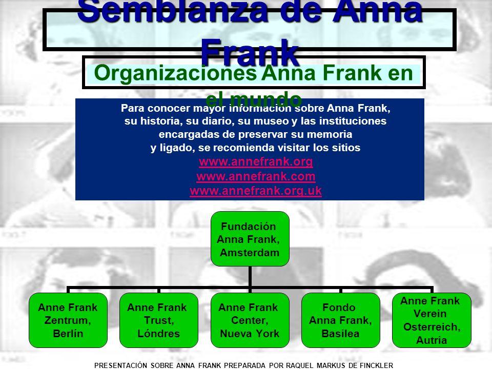 PRESENTACIÓN SOBRE ANNA FRANK PREPARADA POR RAQUEL MARKUS DE FINCKLER Semblanza de Anna Frank Para conocer mayor información sobre Anna Frank, su hist