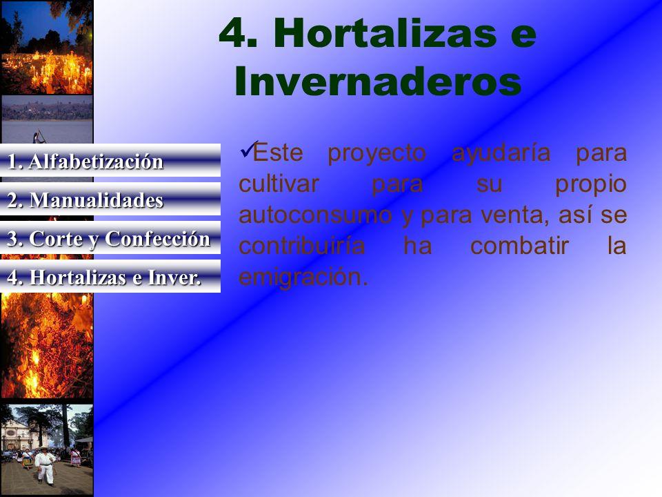 4. Hortalizas e Invernaderos Este proyecto ayudaría para cultivar para su propio autoconsumo y para venta, así se contribuiría ha combatir la emigraci
