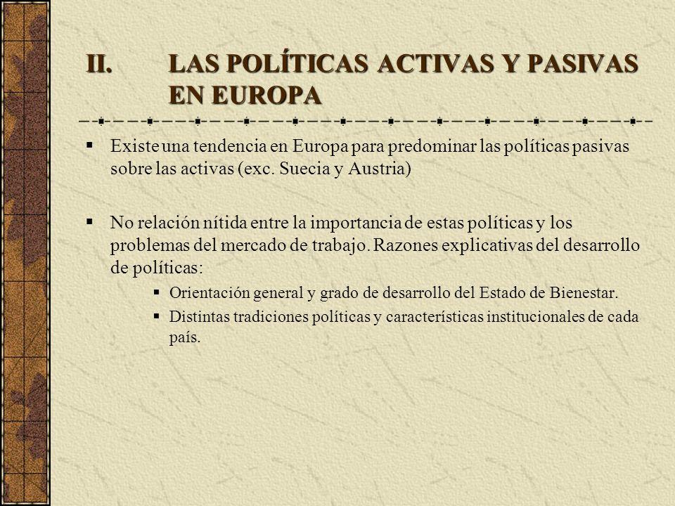 II.LAS POLÍTICAS ACTIVAS Y PASIVAS EN EUROPA Existe una tendencia en Europa para predominar las políticas pasivas sobre las activas (exc. Suecia y Aus